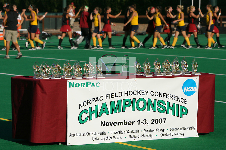 3 November 2007: The Norpac Championship trophies during Stanford's 3-1 win over California in the finals of the NorPac Championship at the Varsity Field Hockey Turf in Stanford, CA.