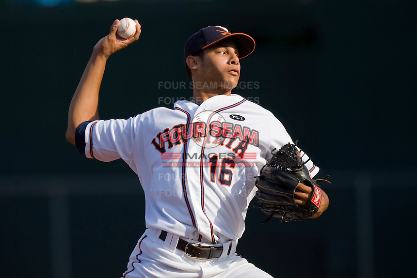 Starting pitcher Branden Kline #16 of the Virginia Cavaliers in action against the St. John's Red Storm in the championship game of the Charlottesville Regional at Davenport Field on June 7, 2010, in Charlottesville, Virginia.  The Cavaliers defeated the Red Storm 5-3.  Photo by Brian Westerholt / Four Seam Images