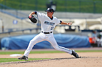 West Michigan Michigan Whitecaps pitcher Trent Szkutnik (17) delivers a pitch to the plate against the Fort Wayne TinCaps during the Midwest League baseball game on April 26, 2017 at Fifth Third Ballpark in Comstock Park, Michigan. West Michigan defeated Fort Wayne 8-2. (Andrew Woolley/Four Seam Images via AP Images)