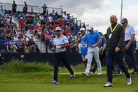 Rafael Cabrera Bello (ESP) and Rory McIlroy (NIR) head down 3 during the preview of the the 148th Open Championship, Royal Portrush golf club, Portrush, Antrim, Northern Ireland. 7/16/2019.<br /> Picture Ken Murray / Golffile.ie<br /> <br /> All photo usage must carry mandatory copyright credit (© Golffile | Ken Murray)