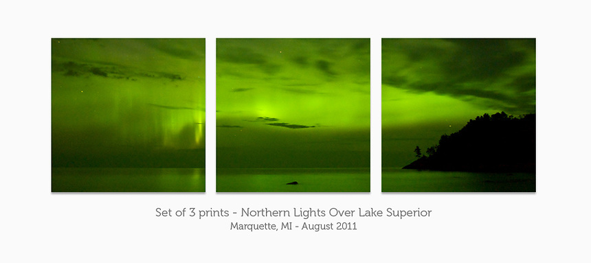 Display a print in a different way with this 3-print photo split of the Northern Lights over Lake Superior. Marquette, MI