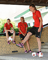 2017022 - GILZE , NETHERLANDS : Tine De Caigny (R) with Elke Van Gorp (L) and Janice Cayman (M)  pictured during a bucket challenge organised by the camera team of UEFA at the Van Der Valk Hotel in Gilze , The Netherlands PHOTO SPORTPIX.BE | DIRK VUYLSTEKE