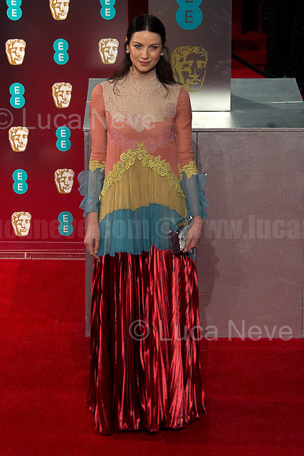Caitriona Balfe.<br /> <br /> London, 12/02/2017. Red Carpet of the 2017 EE BAFTA (British Academy of Film and Television Arts) Awards Ceremony, held at the Royal Albert Hall in London.<br /> <br /> For more information please click here: http://www.bafta.org/
