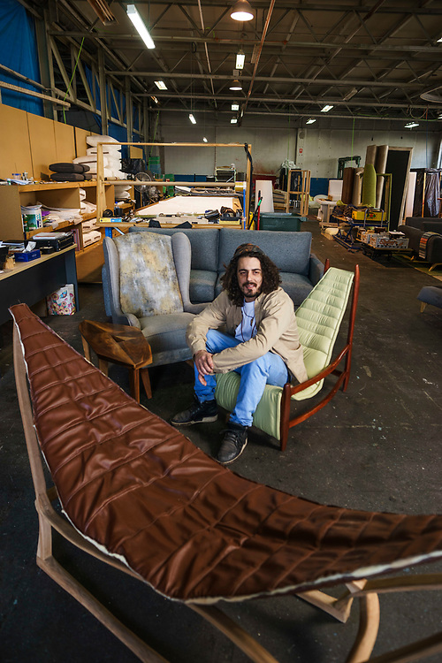 Home & Life , Crafstman : Luke Makris artist and upholsteror at his workshop Hendon. Photo: Nick Clayton