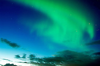 The Northern Lights or Aurora Borealis playing over Akureyri late August.