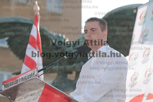 Gabor Vona leader of the party Jobbik delivers his speach during a political gathering of Hungarian far-right political party Jobbik to celebrate the fourth anniversary of their paramilitary group Hungarian Guard (or Magyar Garda in Hungarian) in Budapest, Hungary on August 28, 2011. ATTILA VOLGYI