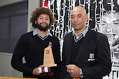 Under 19 Player of the Year Orbyn Leger with his uncle Nick Leger. Counties Manukau Rugby Unions Senior Prize giving held at ECOLight Stadium Pukekohe on Wednesday November 2nd, 2016.<br /> Photo by Richard Spranger.