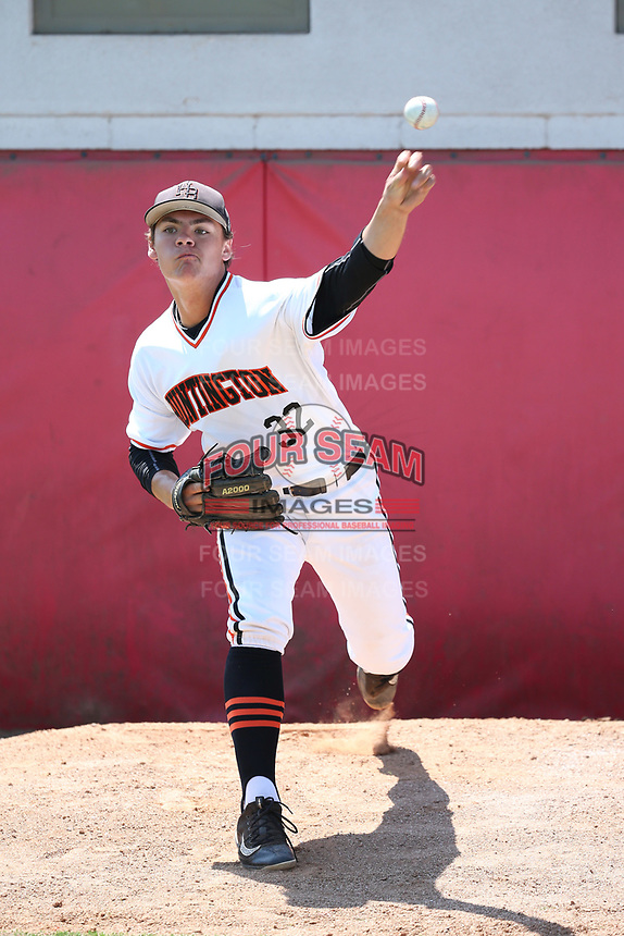 Nick Pratto (32) of the Huntington Beach High School Oilers throws in the bullpen before pitching against the Damien High School Spartans at Mater Dei High School on April 18, 2017 in Santa Ana, California. (Larry Goren/Four Seam Images)