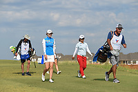 Brittany Altomare (USA) and Sei Young Kim (KOR) head down 2 during round 4 of the Volunteers of America Texas Classic, the Old American Golf Club, The Colony, Texas, USA. 10/6/2019.<br /> Picture: Golffile | Ken Murray<br /> <br /> <br /> All photo usage must carry mandatory copyright credit (© Golffile | Ken Murray)