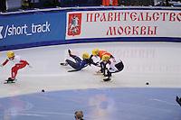 "SHORT TRACK: MOSCOW: Speed Skating Centre ""Krylatskoe"", 13-03-2015, ISU World Short Track Speed Skating Championships 2015, Elena VIVIANI (#035 | ITA), Yara VAN KERKHOF (#051 | NED), Evgeniya ZAKHAROVA (#058 | RUS), ©photo Martin de Jong"