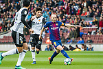 Andres Iniesta Lujan (R) of FC Barcelona battles for the ball with Carlos Soler Barragan of Valencia CF during the La Liga 2017-18 match between FC Barcelona and Valencia CF at Camp Nou on 14 April 2018 in Barcelona, Spain. Photo by Vicens Gimenez / Power Sport Images