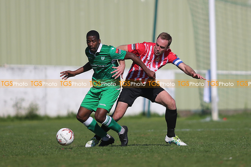 Darrelle Russell of Walham Abbey and Elliot Styels of Hornchurch  during Waltham Abbey vs AFC Hornchurch, Ryman League Division 1 North Football at Capershotts on 8th April 2017