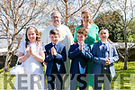 Teacher Aoife Daly with her pupils who received their 1st Holy Communion from Fr. Kieran O'Sullivan in St. James' Church, Glenbeigh on Saturday.