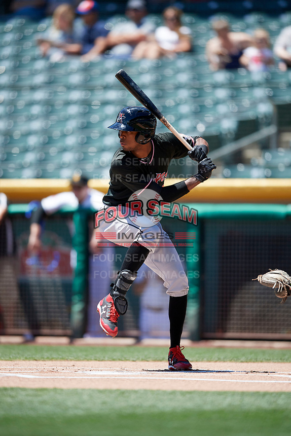 Rosell Herrera (7) of the Albuquerque Isotopes bats against the Salt Lake Bees in Pacific Coast League action at Smith's Ballpark on June 11, 2017 in Salt Lake City, Utah. The Bees defeated the Isotopes 6-5. (Stephen Smith/Four Seam Images)