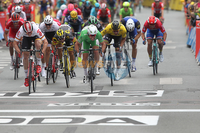 Sprint finish between Green Jersey Mark Cavendish (GBR) Dimension Data and Andre Greipel (GER) Lotto-Soudal approaching the finish line of Stage 3 of the 2016 Tour de France, running 223.5km from Granville to Angers, France . 4th July 2016.<br /> Picture: Heinz Zwicky/Radsport.CH | Newsfile<br /> <br /> <br /> All photos usage must carry mandatory copyright credit (&copy; Newsfile | Heinz Zwicky)
