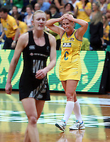 13.10.2013 Australian Diamond Kimberlee Green in action during the Silver Ferns V Australian Diamonds Netball Series played at the AIS Arena in Canberra Australia. Mandatory Photo Credit ©Michael Bradley.