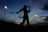 Jun. 1, 2010; Grand Junction, CO, USA; Southern Nevada Coyotes right fielder Bryce Harper warms up in the on deck circle against Iowa Western C.C. during the Junior College World Series as Suplizio Field. Southern Nevada won the game 12-7. Mandatory Credit: Mark J. Rebilas-