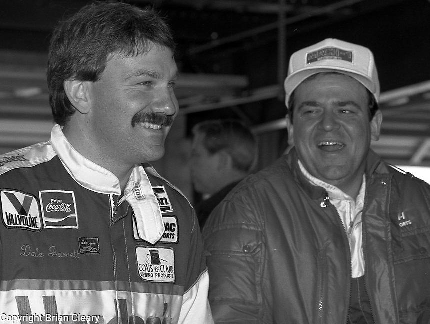 Dale Jarrett Rick Mast garage area Daytona 500 at Daytona International Speedway on February 19, 1989.  (Photo by Brian Cleary/www.bcpix.xom)