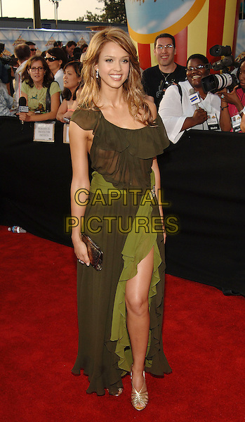 JESSICA ALBA.Red carpet arrivals at the MTV Movie Awards held at the Shrine Auditorium, Los Angeles, California.JUne 4th, 2005.Photo Credit: Jacqui Wong/AdMedia.full length green brown sheer see through see thru silver clutch purse ruffles leg slit split.www.capitalpictures.com.sales@capitalpictures.com.© Capital Pictures.
