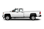 Car driver side profile view of a 2018 GMC Sierra 3500HD Double 4WD Cab Long Box 4 Door Pick Up