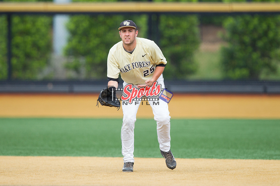 Wake Forest Demon Deacons first baseman Matt Conway (25) on defense against the Virginia Cavaliers at Wake Forest Baseball Park on May 17, 2014 in Winston-Salem, North Carolina.  The Demon Deacons defeated the Cavaliers 4-3.  (Brian Westerholt/Sports On Film)