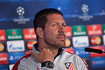 Atletico's coach Diego Simeone speaks during a press conference the day before quarterfinal first leg Champions League soccer match against Real Madrid at Vicente Calderon stadium in Madrid, Spain. April 13, 2015. (ALTERPHOTOS/Victor Blanco)
