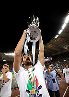 Calcio, Football - Juventus vs Lazio Italian Super Cup Final  <br /> Lazio's Marco Parolo celebrates with the trophy after winning the Italian Cup Final match at Rome's Olympic stadium, on August 13, 2017.<br /> UPDATE IMAGES PRESS/Isabella Bonotto
