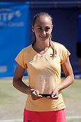 June 18th 2017, The Northern Lawn tennis Club, Manchester, England; ITF Womens tennis tournament; Number seven seed Aleksandra Krunic (SRB) poses with her runners up  trophy after losing her singles final match against Zarina Dyas (KAZ)