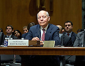"""John Koskinen, Commissioner, Internal Revenue Service, testifies before the United States Senate Committee on Finance on """"IRS Operations and the President's Budget for Fiscal Year 2016"""" in Washington, D.C. on Tuesday, February 3, 2015.  During his testimony, Koskinen said """"In regard to software, we still have applications that were running when John F. Kennedy was President.""""<br /> Credit: Ron Sachs / CNP"""