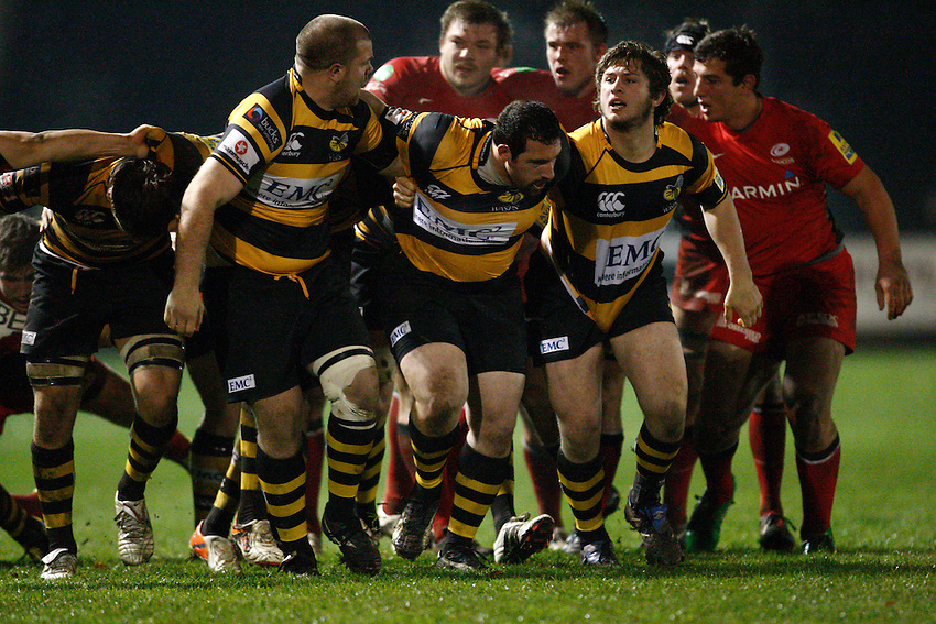 Photo: Richard Lane/Richard Lane Photography. Wasps A v Saracens Stormers. Aviva A League. 28/11/2011. Wasps' front row (lt to rt), Lewis Thiede , Frederico Rodriguez and Alex Hepburn.
