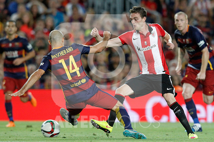 FC Barcelona's Javier Mascherano (l) and Athletic de Bilbao's Javi Eraso during Supercup of Spain 2nd match.August 17,2015. (ALTERPHOTOS/Acero)