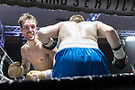 Jimmy Cox vs Adam Fox Contest During EBA Boxing: Prizefighter. Photo by: Simon Downing.<br /> <br /> Saturday July 29th 2017 - Grays Civic Hall, Grays, Essex, United Kingdom.