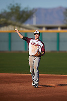 Eric Carter (5) of Sky View High School in North Logan, Utah during the Baseball Factory All-America Pre-Season Tournament, powered by Under Armour, on January 13, 2018 at Sloan Park Complex in Mesa, Arizona.  (Zachary Lucy/Four Seam Images)