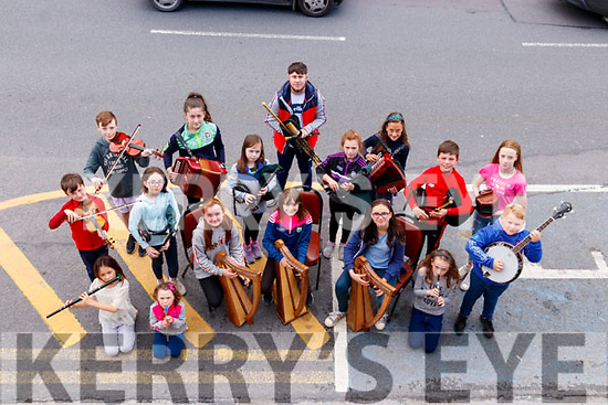 Members of Listowel comhaltas who are bidding to become a centre of excellence in the Harp and Uilleann pipes instruments.