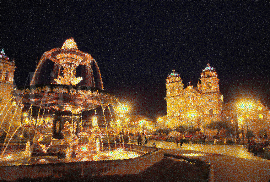 Night fountain in city square at Cuzco, Peru (digital manipulation).
