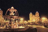 Night fountain in city square at Cuzco, Peru (digital manipulation).