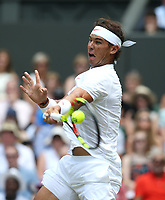 Rafael Nadal (ESP) during his match against Alex De Minaur(AUS) in their Men's Singles Third Round match<br /> <br /> Photographer Rob Newell/CameraSport<br /> <br /> Wimbledon Lawn Tennis Championships - Day 6 - Saturday 7th July 2018 -  All England Lawn Tennis and Croquet Club - Wimbledon - London - England<br /> <br /> World Copyright &not;&copy; 2017 CameraSport. All rights reserved. 43 Linden Ave. Countesthorpe. Leicester. England. LE8 5PG - Tel: +44 (0) 116 277 4147 - admin@camerasport.com - www.camerasport.com