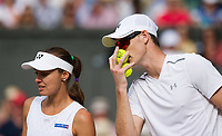 Top seeds Jamie Murray (GBR) with partner Martina Hingis (SUI) in action during their victory against Ken Skupski (GBR) and Jocelyn Rae (GBR),  6-4, 6-4<br /> <br /> Photographer Ashley Western/CameraSport<br /> <br /> Wimbledon Lawn Tennis Championships - Day 10 - Thursday 13th July 2017 -  All England Lawn Tennis and Croquet Club - Wimbledon - London - England<br /> <br /> World Copyright &not;&copy; 2017 CameraSport. All rights reserved. 43 Linden Ave. Countesthorpe. Leicester. England. LE8 5PG - Tel: +44 (0) 116 277 4147 - admin@camerasport.com - www.camerasport.com