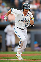 Akron RubberDucks Alex Call (7) runs to first base during an Eastern League game against the Reading Fightin Phils on June 4, 2019 at Canal Park in Akron, Ohio.  Akron defeated Reading 8-5.  (Mike Janes/Four Seam Images)