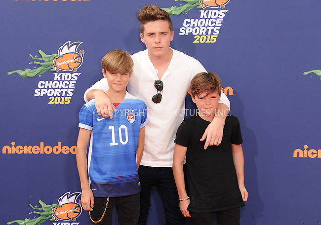 WWW.ACEPIXS.COM<br /> <br /> July 16 2015, LA<br /> <br /> (L-R) Romeo Beckham, Brooklyn Beckham and Cruz Beckham arriving at the Nickelodeon Kids' Choice Sports Awards 2015 at UCLA's Pauley Pavilion on July 16, 2015 in Westwood, California.<br /> <br /> By Line: Peter West/ACE Pictures<br /> <br /> <br /> ACE Pictures, Inc.<br /> tel: 646 769 0430<br /> Email: info@acepixs.com<br /> www.acepixs.com