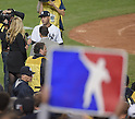 Derek Jeter (Yankees),<br /> SEPTEMBER 25, 2014 - MLB :<br /> Derek Jeter of the New York Yankees is interviewed after the Major League Baseball game against the Baltimore Orioles at Yankee Stadium in the Bronx, New York, United States. (Photo by AFLO)