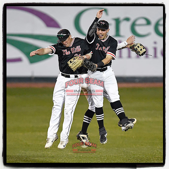 North Greenville Crusaders outfielders Toby Sponseller (21), Josh Senter (19) and Jeffrey Chandler Jr. (24) jump and bump to celebrate a 14-3 win over the Queens Royals on Tuesday, March 12, 2019, at Fluor Field at the West End in Greenville, South Carolina. North Greenville won, 14-3. (Tom Priddy/Four Seam Images)
