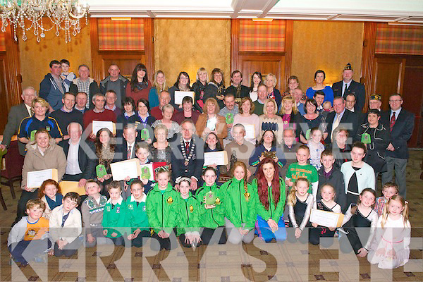 St. Patricks Day Parade All Category Winners at the prize giving in the International Hotel, Killarney last Wedsnesday.