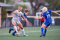 Boston, MA - Sunday May 07, 2017: Lynn Williams and Angela Salem during a regular season National Women's Soccer League (NWSL) match between the Boston Breakers and the North Carolina Courage at Jordan Field.