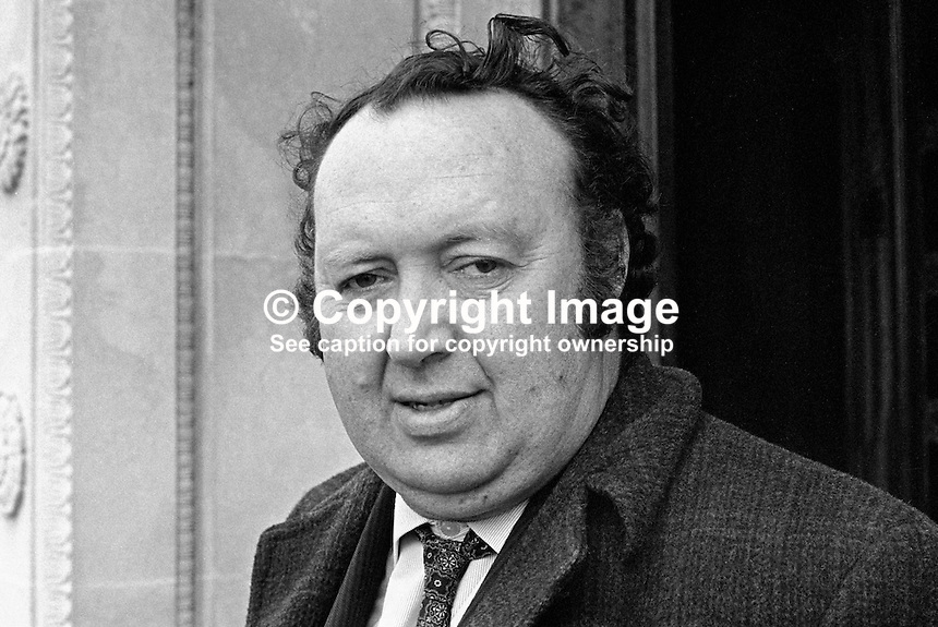 Paddy Devlin, chairman, N Ireland Labour Party, MP, N Ireland Parliament, Stormont, 1970110376PD2.<br /> <br /> Copyright Image from Victor Patterson,<br /> 54 Dorchester Park, <br /> Belfast, UK, BT9 6RJ<br /> <br /> t1: +44 28 9066 1296 (from Rep of Ireland 048 9066 1296)<br /> t2: +44 28 9002 2446 (from Rep of Ireland 048 9002 2446)<br /> <br /> m: +44 7802 353836<br /> <br /> e: victorpatterson@me.com<br /> www.victorpatterson.com<br /> <br /> Please see my Terms and Conditions of Use at www.victorpatterson.com. It is IMPORTANT that you familiarise yourself with them.<br /> <br /> Images used on the Internet must be visibly watermarked i.e. &copy; Victor Patterson<br /> within the body of the image and copyright metadata must not be deleted. Images <br /> used on the Internet have a size restriction of 4kbs and will be chargeable at current<br />  NUJ rates unless agreed otherwise.<br /> <br /> This image is only available for the use of the download recipient i.e. television station, newspaper, magazine, book publisher, etc, and must not be passed on to any third <br /> party. It is also downloaded on condition that each and every usage is notified within 7 days to victorpatterson@me.com<br /> <br /> The right of Victor Patterson to be identified as the author is asserted in accordance with The Copyright Designs And Patents Act (1988). All moral rights are asserted.