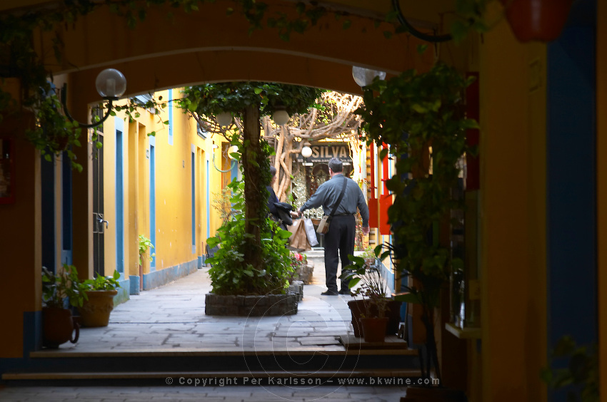 in the San Telmo district around Plaza Dorrego Square, One of the passage ways leading in to more antique and flea market shops, a man carrying many shopping bags, dark passage way leading to court yard. Calle Defensa Defence street Buenos Aires Argentina, South America