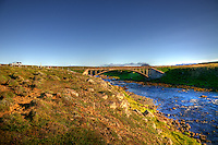 The old bridge at Svalbardsa river. Bruarstrengir pool.