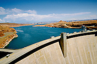 View of Lake Powell (fed by the Colorado River) behind Glen Canyon Dam, the 2nd largest person-made lake in the United States. Page, Arizona.