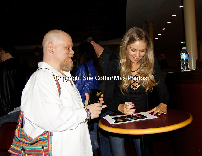 Melissa Ordway & fan - The Young and The Restless - Genoa City Live celebrating over 40 years with on February 27. 2016 at The Lyric Opera House, Baltimore, Maryland on stage with questions and answers followed with autographs and photos in the theater.  (Photo by Sue Coflin/Max Photos)