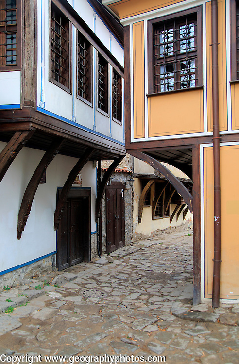 Historic buildings with overhanging upper storeys in historic old town area of Plovdiv, Bulgaria